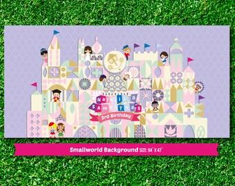Personalized Small World dessert table backdrop (digital file)