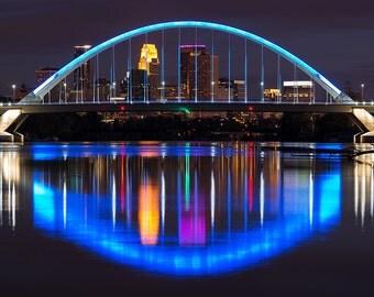 Lowry Avenue Bridge Reflection, Minneapolis, Minnesota, City Lights, Mississippi River - Travel Photography, Print, Wall Art