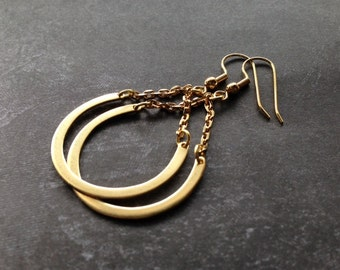 Gold Dangle Earrings / Circle Earrings / Long Brass Earrings / Handmade Jewelry