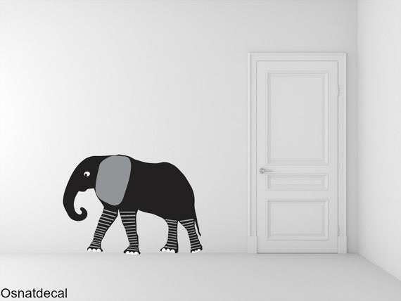 FREE SHIPPING Big Elephant Color Black. Nursey Wall Decal. Vinyl Wall Decal. Children Decal.Home Decor. Baby Wall Decal. Wall Sticker.