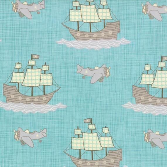 Childrens quilt fabric moda story book 13112 aqua ship quilt for Childrens airplane fabric