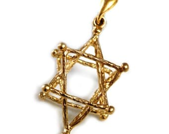 Star of David Kaballah 3-D 14k Gold Pendant