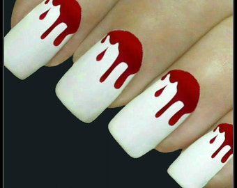 Halloween Nail Decal 20 Blood Nail Art Water Slide Decals Fingernail Decal Haunting Nail Tattoos Nail Transfers