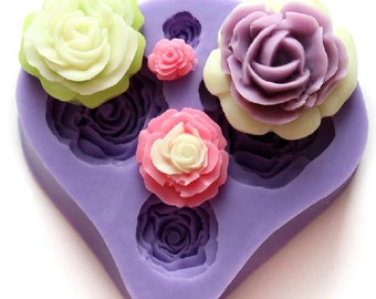 Fondant Roses Cake Decorating Mold, 4 different sizes of Rose
