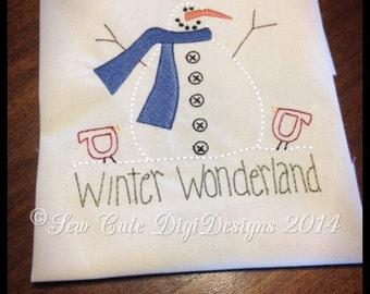 Primitive Country Winter Wonderland Snowman Redwork Machine Embroidery Design - Instant Download