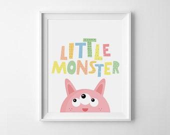 baby girl nursery art, Pink Little Monster, printable nursery art, pink and yellow, nursery print, modern nursery, monster illustration