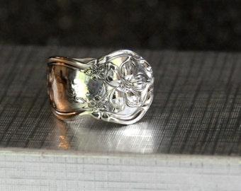 1910 spoon ring,  orange blossom ring, vintage ring