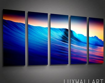Color Waves Contemporary Metal Artwork interior Design 5 Panels