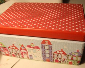Big handmade wooden decoupage box, wooden gift, keepsake box, gift for a girl, storage box, lovely houses, polka dot