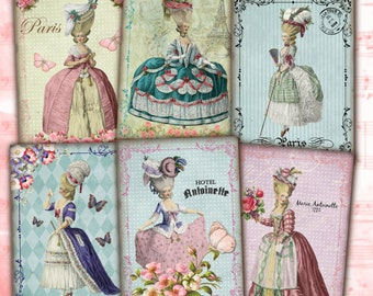 Marie Antoinette Instant Download Shabby Chic Vintage French ATC ACEO Cards Digital Collage Sheet Jewelry Holders Gift Tags