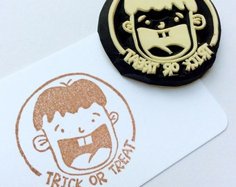 Halloween stamp.Trick or Treat Stamp.hand carved stamp. rubber stamp. mounted.
