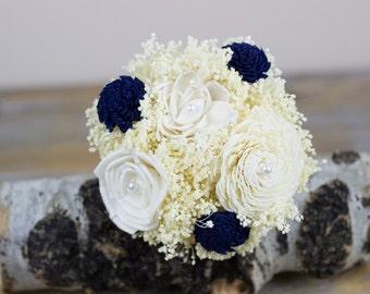 Wedding Flowers, Flower Girl Bouquet, Jr. Bridesmaids/ Bridesmdaids Bouquet, Navy/Ivory Bouquet, Keepsake Bouquet, Alternative Bouquet