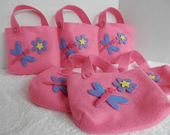 BIRTHDAY GIFT BAGS, Party Favors, Candy Bags, Felt Gift Bags, Pink Gift Bags, Girls Party Favors, Girls Gift Bags
