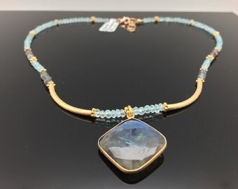 Labradorite and Aquamarine Necklace with 18k Gold Fill Findings