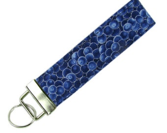 Personalized Key Chain / Key Fob Blueberries With Optional Initials