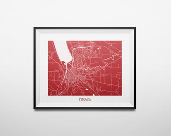 Ithaca, New York Abstract Street Map Print