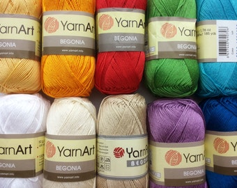 100% mercerized cotton yarn knitting crochet by Yarnart begonia 50g 169m