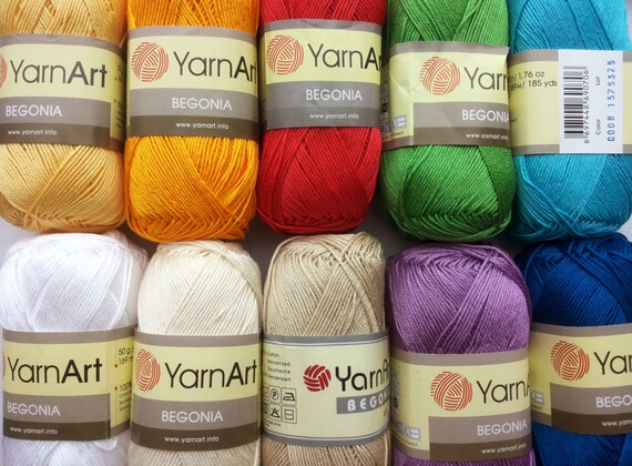 Cotton Crochet Yarn : 100% mercerized cotton yarn knitting crochet by Yarnart begonia 50g ...