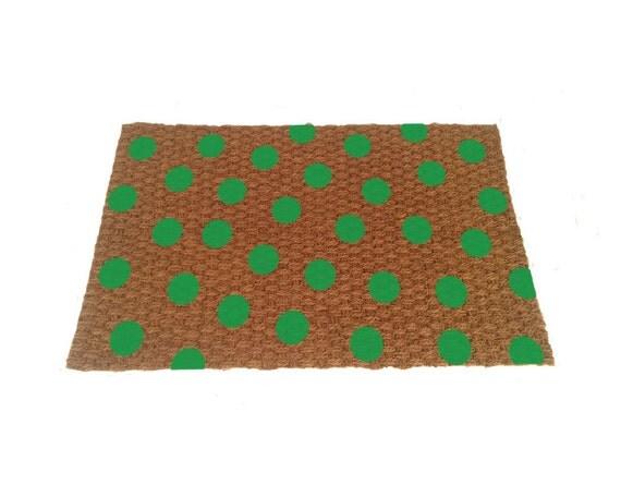 Thin green polka dot door mat indoor or by uncommondoormats for Door mat indoor