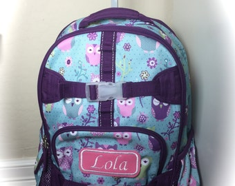 Personalized Monogrammed Backpack Turquoise Owl Rolling Pottery Barn Backpack Bag