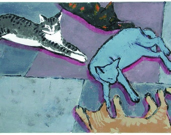 Cats relaxing ON THE LANAI. Giclée reproduction print of an original monoprint.