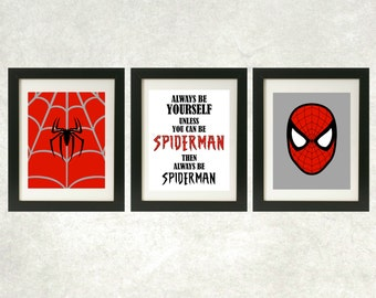 Always Be Spiderman Printables // Spiderman Wall Art // Superhero Art // Superhero Decor // Set of 3