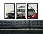 "Ghostbusters ectomobile inspired poster print,  vintage vehicle poster print 11""x17"""