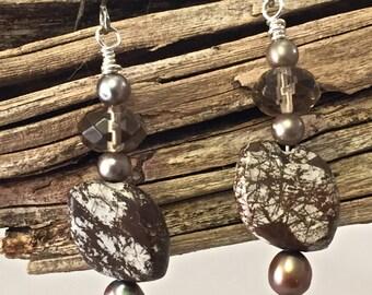 Brown Zebra Jasper, Smoky Quartz and Freshwater Pearl Earrings