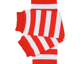 Red/white striped leg warmers