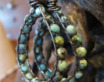 African Turquoise Beaded Wire Wrapped Earrings