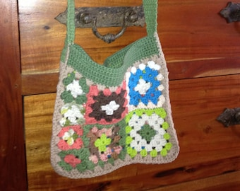 Chrochet bag/ Granny Square/ Cotton/ Hipppie/Bohemian/Lined/Medium