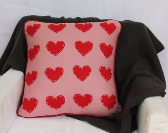 CUSTOMISABLE love heart cushion cover with piping