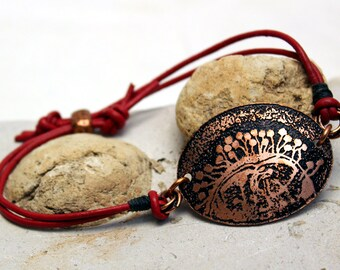 Etched Copper and Leather Bacteriophage Design Bracelet