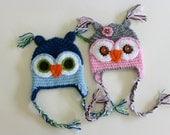 Owl beanie, Owl hat, earflap hat, crochet owl beanie, photo prop