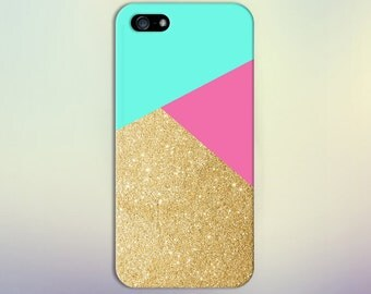 Geometric Gold Glitter Teal Hot Pink Phone Case,iPhone 7, iPhone 7 Plus, Tough iPhone Case, Galaxy s8 Samsung Galaxy Case Note 5 CASE ESCAPE