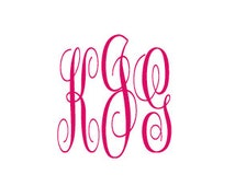 Monogram Hot Pink Vinyl Initials Decal Indoor Outdoor / cute gift idea / birthday / graduation / valentines / Christmas / anniversary