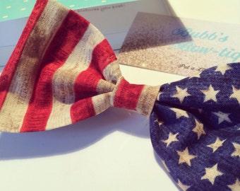 Vintage American Flag Hair Bow Accessory