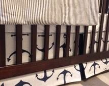 Anchor Crib Skirts, Nautical baby bedding, Nautical crib skirts, crib skirt, Peak a Boo crib skirt,Baby boy crib skirt, anchor crib skirt