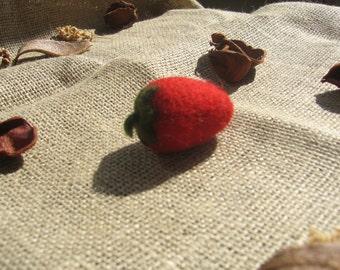 Wool Needle Felted Strawberry,Needle Felt Waldorf Party Favor
