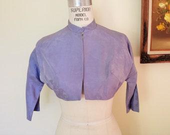 Vintage 1960s Bolero Jacket / Lavender 60s Jacket / 60s Purple Bolero / Dolman Sleeve / Vintage Cover Up / Cropped Jacket