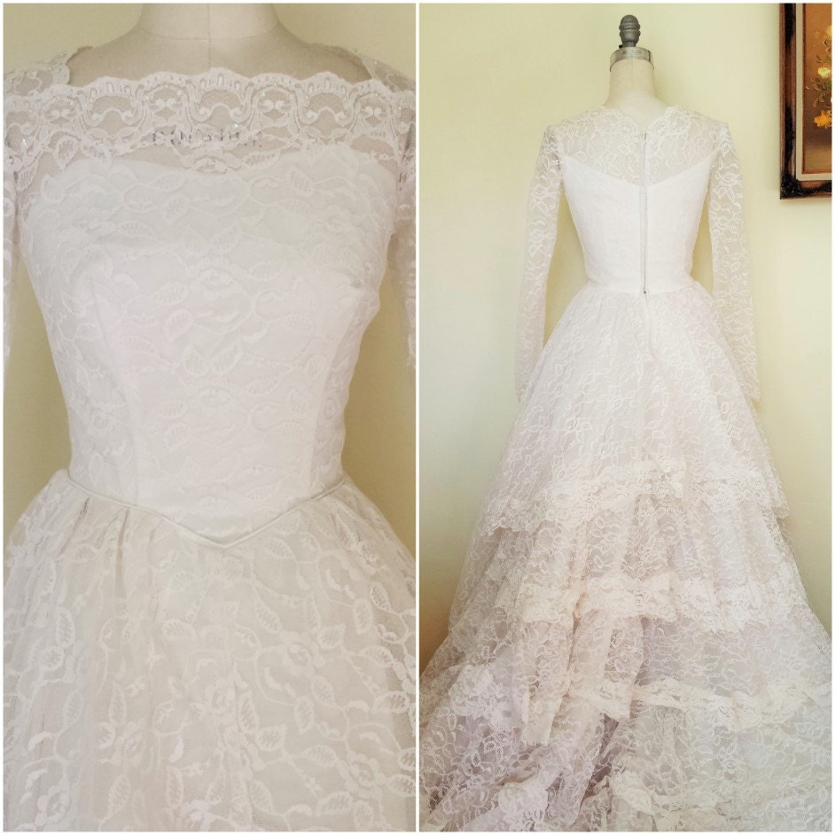 Grace Kelly Inspired Wedding Gowns: Vintage 1950s Wedding Gown / Grace Kelly Style Wedding Dress