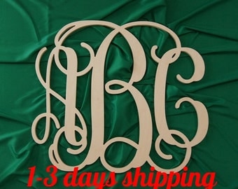 SALE 24 inch  Wooden monogram wall hanging wall monogram nursery decor UNPAINTED