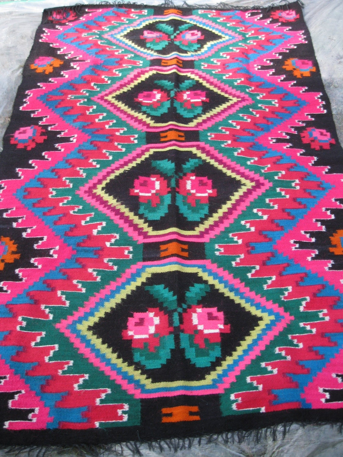 Antique Traditional Flat Weave Romanian Carpet From