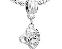 Pugster® Clear Crystal Heart Love Dangle European Euro Bead Pendant Charm Fits Pandora, Biagi, & Chamilia Story Bracelets B5G1 FREE SHIPPING