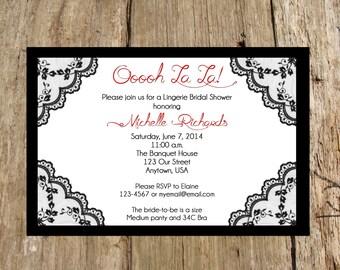 Bridal Lingerie Shower/ Bachelorette Party Invitation, Black Lace Trim, Digital Printable File