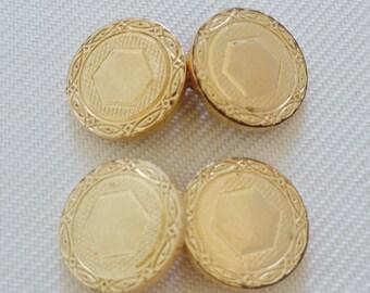 Vintage Round Krementz Gold Tone Cuff Links - Groom, Groomsmen, Gift, Formal Tuxedo Black Tie Wedding