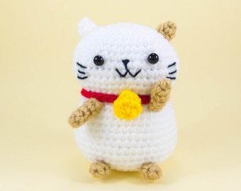 Cat Plush - Crochet Cat - Lucky Cat Amigurumi - Fortune Cat Decor - Maneki Neko - Cat Stuffed Toy - Lucky Cat Doll for Room Decor