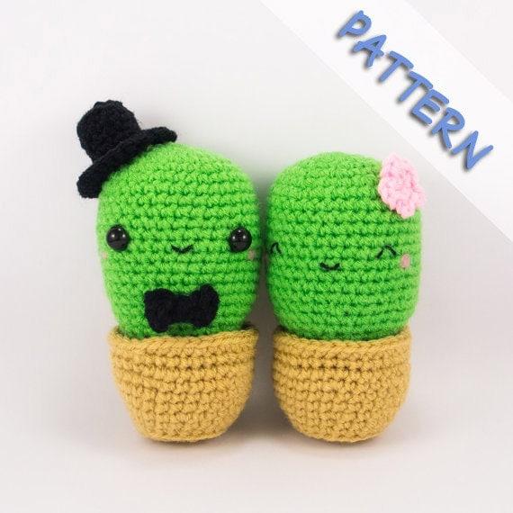Tecnica Amigurumi Cactus : Cactus Couple Amigurumi Crochet Pattern PDF by ...