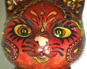 Sugar Skull Cat Sculpture Day Of The Dead Kitty Boy Cat Halloween Cat Candy Skull Cat Red Día De Muertos A Celebration Of Your Cats Life