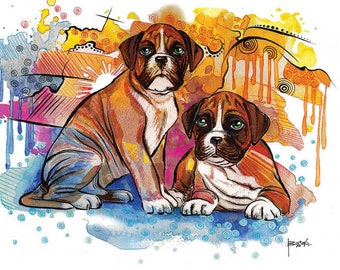 Boxer Dog Art Print - Modern Art print, fine art print, whimsical art, pet lover